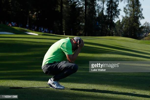 Matt Fitzpatrick of England reacts to an approach shot on the 14th hole during the final round of the Scandinavian Invitation at Hills Golf Sports...
