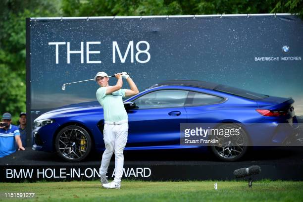 Matt Fitzpatrick of England tees off on the 17th hole during day four of the BMW International Open at Golfclub Munchen Eichenried on June 23 2019 in...