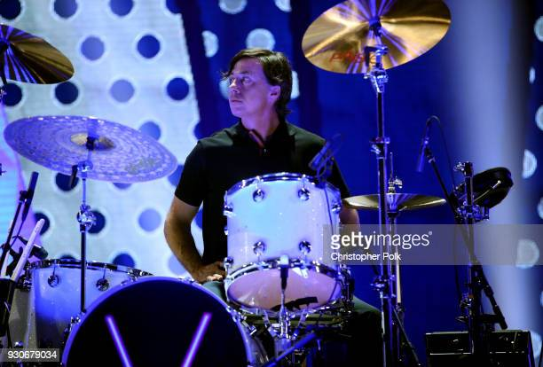 Matt Flynn of Maroon 5 performs onstage during the 2018 iHeartRadio Music Awards which broadcasted live on TBS TNT and truTV at The Forum on March 11...