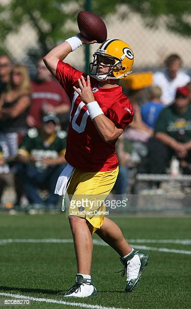 Matt Flynn of the Green Bay Packers throws a pass during summer training camp on July 28 2008 at the Hutson Center in Green Bay Wisconsin