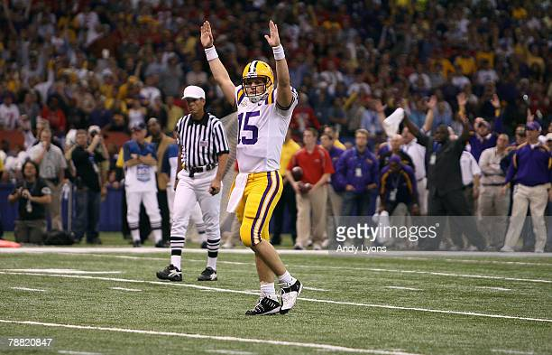 Matt Flynn of the Louisiana State University Tigers celebrates a one yard touchdown run by Jacob Hester in the second quarter against the Ohio State...