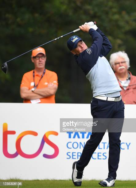 Matt Ford of England plays his tee shot to the 10th hole during Day Two of the Dutch Open at Bernardus Golf on September 17, 2021 in Cromvoirt,...