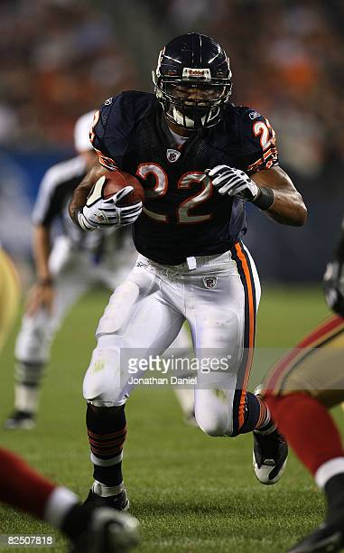 Matt Forte of the Chicago Bears runs for yardage against the San Francisco 49ers on August 21 2008 at Soldier Field in Chicago Illinois