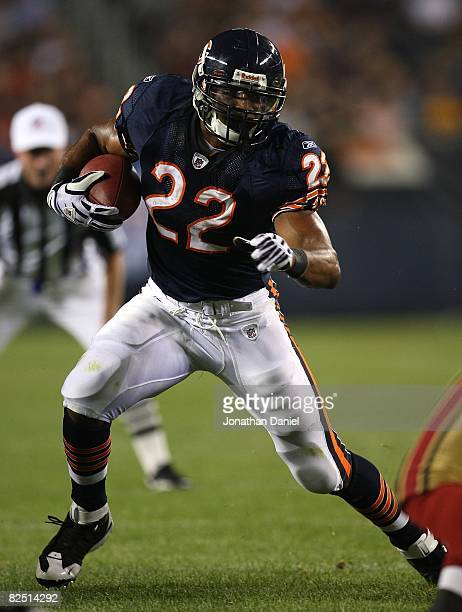 Matt Forte of the Chicago Bears runs for yardage against the San Francisco 49ers on August 21 2008 at Soldier Field in Chicago Illinois The 49ers...
