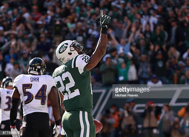 Matt Forte of the New York Jets celebrates his third quarter touchdown against the Baltimore Ravens at MetLife Stadium on October 23 2016 in East...