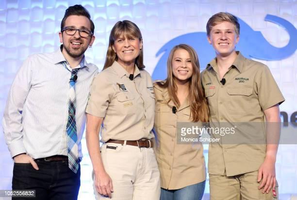 "Matt Forte, Terri Irwin, Bindi Irwin and Robert Irwin speak onstage as Animal Planet celebrates ""Crikey! It's the Irwins"" on October 19, 2018 in New..."