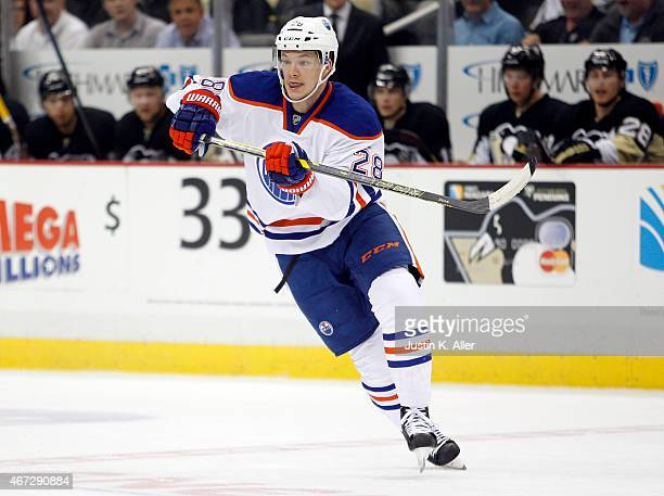 Matt Fraser of the Edmonton Oilers skates during the game against the Pittsburgh Penguins at Consol Energy Center on March 12 2015 in Pittsburgh...