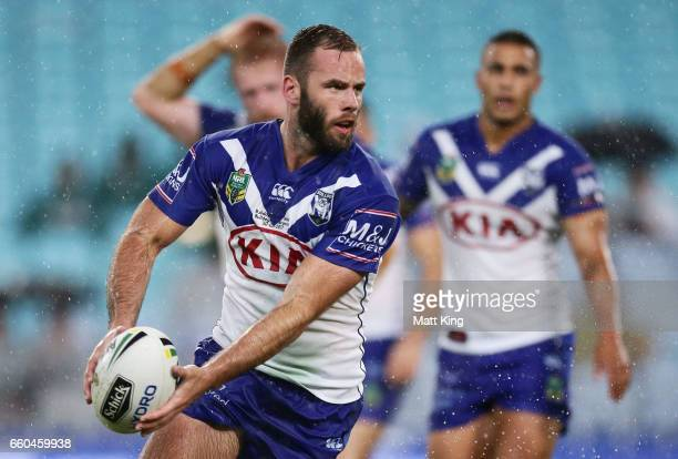 Matt Frawley of the Bulldogs runs with the ball during the round five NRL match between the Canterbury Bulldogs and the Brisbane Broncos at ANZ...
