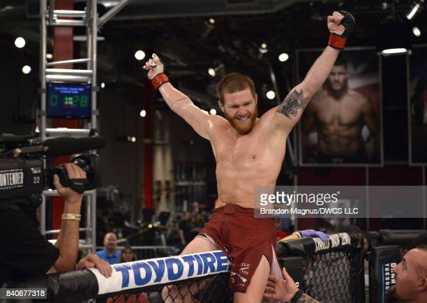 Matt Frevola celebrates after defeating Luke Flores by submission in their lightweight bout during Dana White's Tuesday Night Contender Series at the...