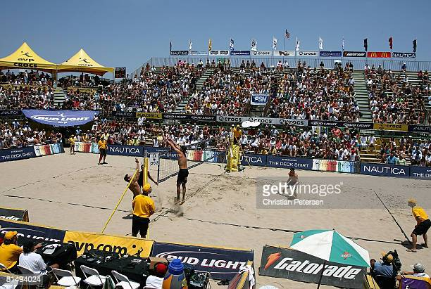Matt Fuerbringer and Casey Jennings compete against Matt Olson and Kevin Wong in the AVP Hermosa Beach Open semi final match on June 8 2008 at the...