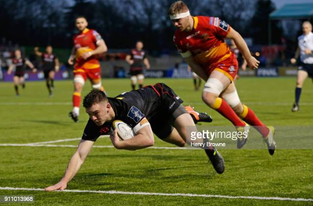 Matt Gallagher of Saracens scores a try during the AngloWelsh Cup match between Saracens and Dragons at Allianz Park on January 27 2018 in Barnet...
