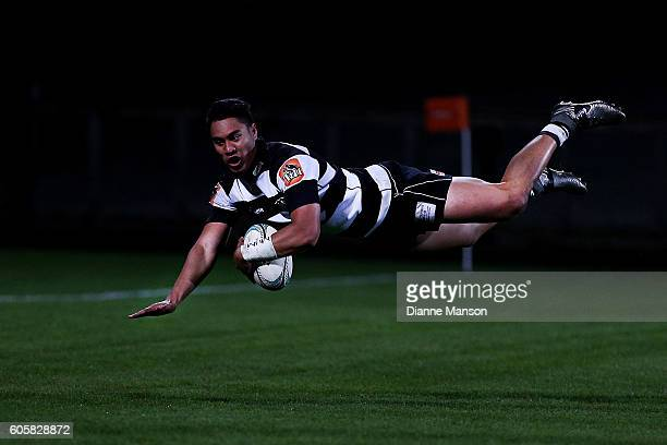 Matt Garland of Hawkes Bay dives over to score a try during the round five Mitre 10 Cup match between Southland v Hawke's Bay at Rugby Park Stadium...