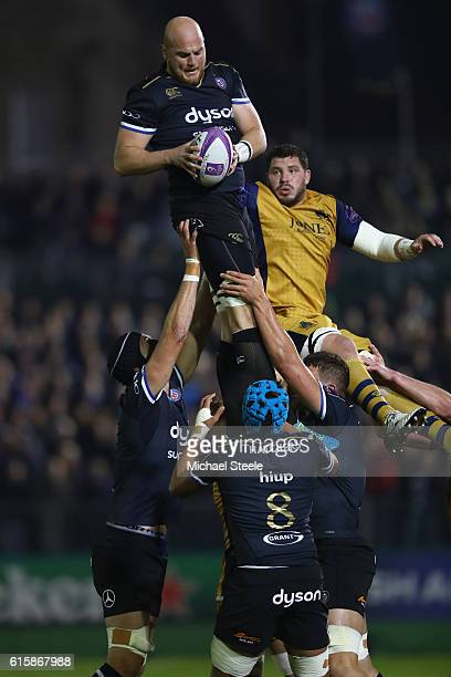 Matt Garvey of Bath claims the ball at a lineout from James Phillips of Bristol during the European Rugby Challenge Cup Pool Four match between Bath...