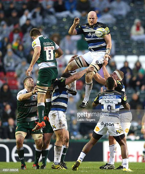 Matt Garvey of Bath wins the lineout ball during the Aviva Premiership match between Leicester Tigers and Bath at Welford Road on November 29 2015 in...