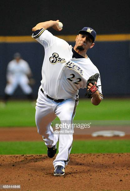 Matt Garza of the Milwaukee Brewers pitches against the Cincinnati Reds during the first inning on September 14 2014 at Miller Park in Milwaukee...