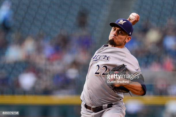 Matt Garza of the Milwaukee Brewers pitches against the Colorado Rockies in the first inning of a game at Coors Field on August 18 2017 in Denver...