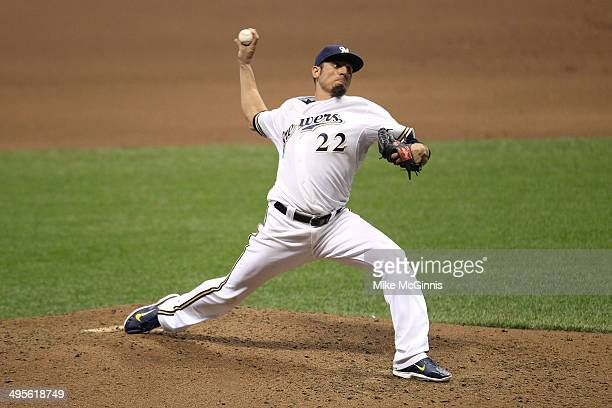 Matt Garza of the Milwaukee Brewers pitches during the game against the Baltimore Orioles at Miller Park on May 27 2014 in Milwaukee Wisconsin