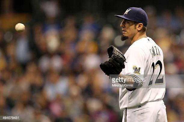 Matt Garza of the Milwaukee Brewers pitches during the top of the second inning against the Baltimore Orioles at Miller Park on May 27 2014 in...