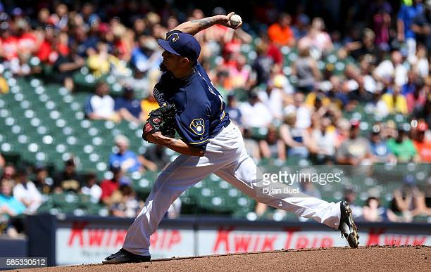 Matt Garza of the Milwaukee Brewers pitches in the first inning against the Pittsburgh Pirates at Miller Park on July 31 2016 in Milwaukee Wisconsin