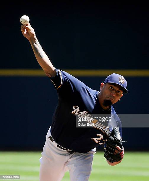 Matt Garza of the Milwaukee Brewers pitches in the second inning against the Pittsburgh Pirates at Miller Park on July 31 2016 in Milwaukee Wisconsin