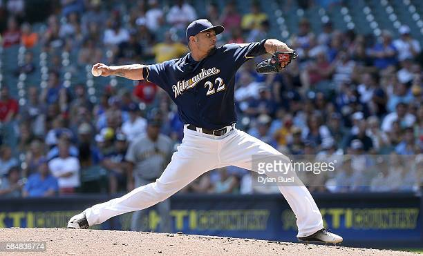 Matt Garza of the Milwaukee Brewers pitches in the third inning against the Pittsburgh Pirates at Miller Park on July 31 2016 in Milwaukee Wisconsin