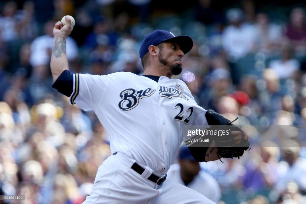 Matt Garza #22 of the Milwaukee Brewers pitches in the third inning against the Los Angeles Dodgers at Miller Park on June 3, 2017 in Milwaukee, Wisconsin.