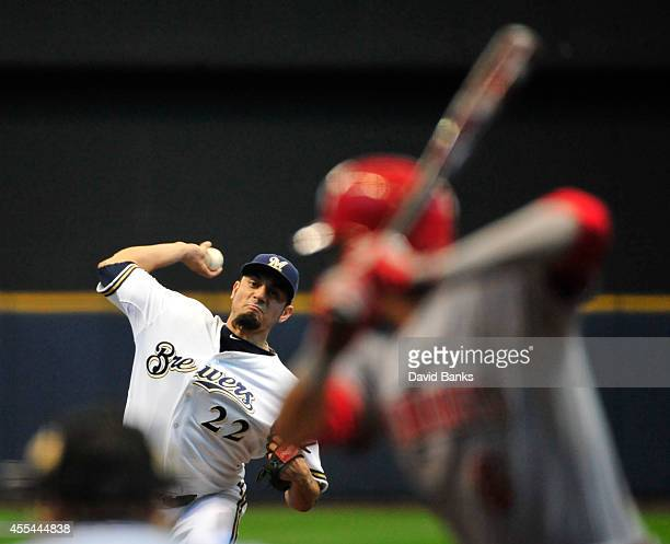 Matt Garza of the Milwaukee Brewers pitches to Billy Hamilton of the Cincinnati Reds during the first inning on September 14 2014 at Miller Park in...