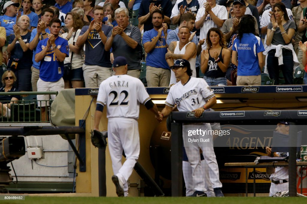 Matt Garza #22 of the Milwaukee Brewers receives a standing ovation from fans after being relieved in the seventh inning against the Baltimore Orioles at Miller Park on July 5, 2017 in Milwaukee, Wisconsin.
