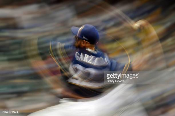 Matt Garza of the Milwaukee Brewers throws a pitch during the eighth inning of a game against the Cincinnati Reds at Miller Park on September 27 2017...