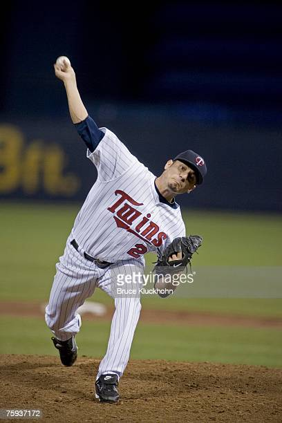 Matt Garza of the Minnesota Twins pitches in a game against the Detroit Tigers at the Humphrey Metrodome in Minneapolis, Minnesota on July 17, 2007....