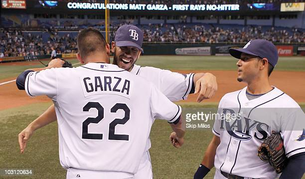 Matt Garza of the Tampa Bay Rays celebrates with teammates after he pitched a nohitter for a 50 complete game victory against the Detroit Tigers at...