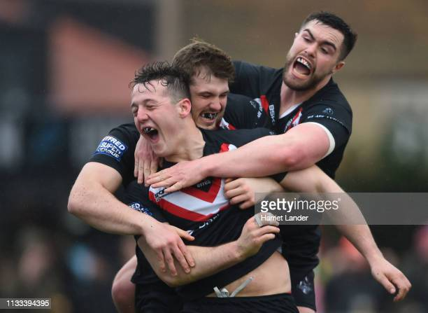Matt Gee of London Broncos celebrates after scoring his team's second try during the Betfred Super League match between London Broncos and Wigan...