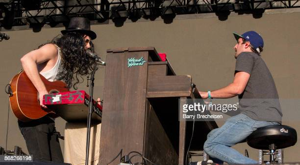 Matt Gervais and Kenny Hensley of The Head and the Heart perform during Voodoo Music Arts Experience at City Park on October 29 2017 in New Orleans...