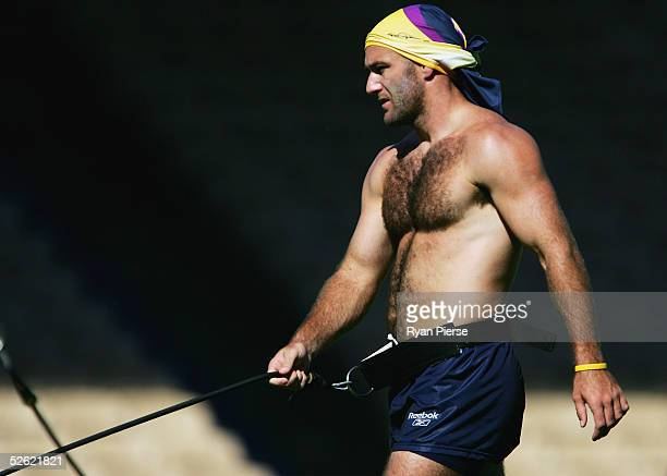 Matt Geyer of the Storm in action during the Melbourne Storm training session at Olympic Park on April 13 2005 in Melbourne Australia