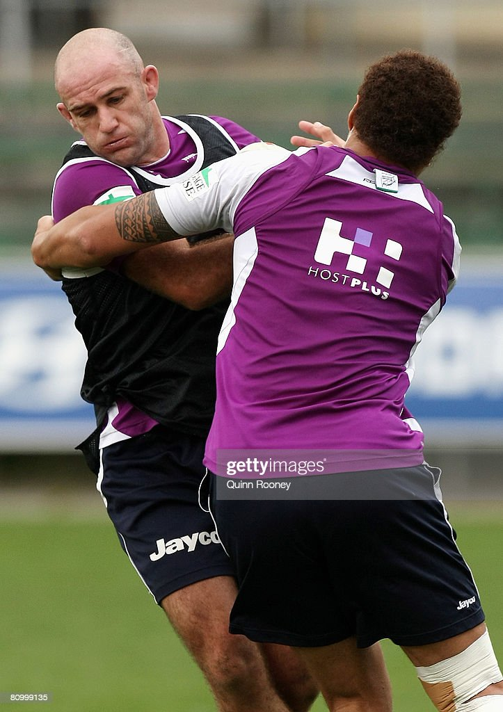 Matt Geyer of the Storm is tackled during a Melbourne Storm NRL training session held at MC Labour Park on May 6, 2008 in Melbourne, Australia.