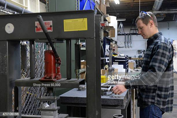 April 16: Matt Giaraffa does quality checks on in-house welded parts Friday, April 17, 2015 at Guerrilla Gravity in Denver, Colorado. Guerrilla...