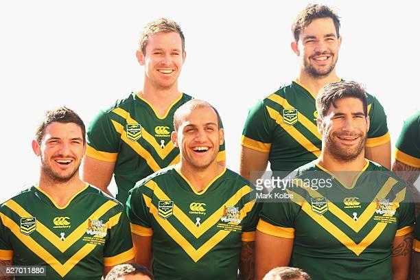 Matt Gillett Michael Morgan Blake Ferguson Aidan Guerra and James Tamou share a joke as they pose for the team photo during the Australia Kangaroos...