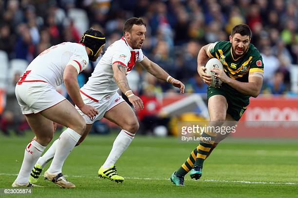 Matt Gillett of Australia in action during the Four Nations match between England and Australian Kangaroos at Olympic Stadium on November 13 2016 in...