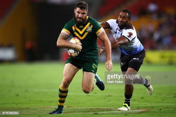Matt Gillett of Australia makes a break during the 2017 Rugby League World Cup Semi Final match between the Australian Kangaroos and Fiji at Suncorp...