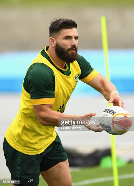 Matt Gillett of Australia passes the ball during an Australian Kangaroos training session at Lakeside Stadium on October 24 2017 in Melbourne...