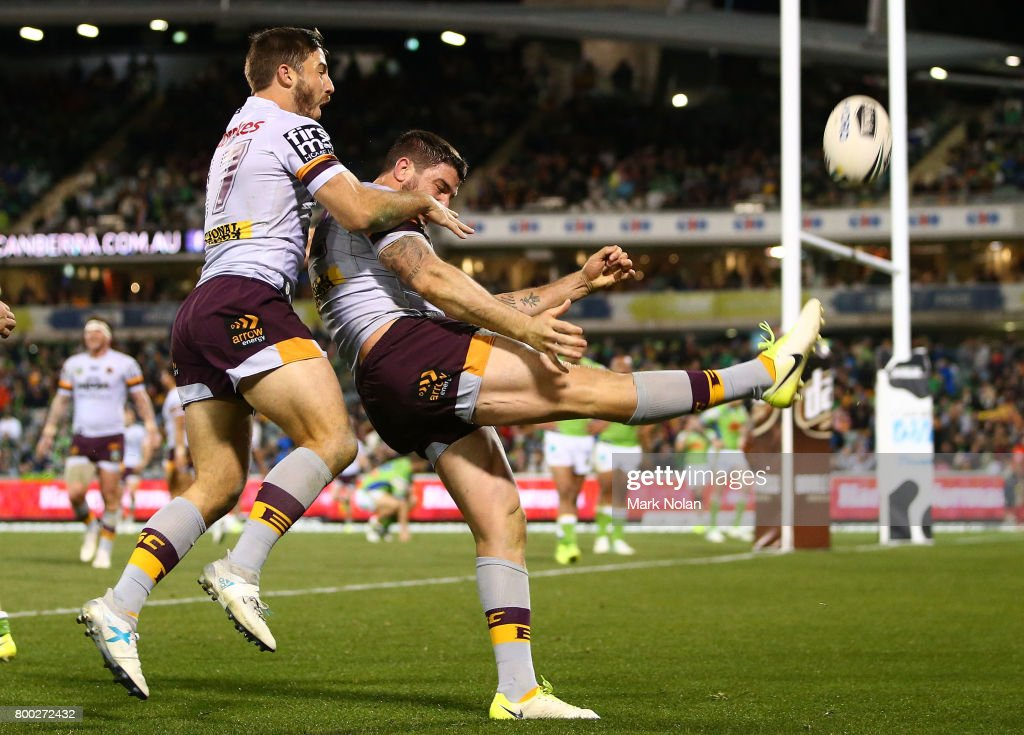 Matt Gillett of the Broncos celebrates scoring the final try during the round 16 NRL match between the Canberra Raiders and the Brisbane Broncos at GIO Stadium on June 24, 2017 in Canberra, Australia.