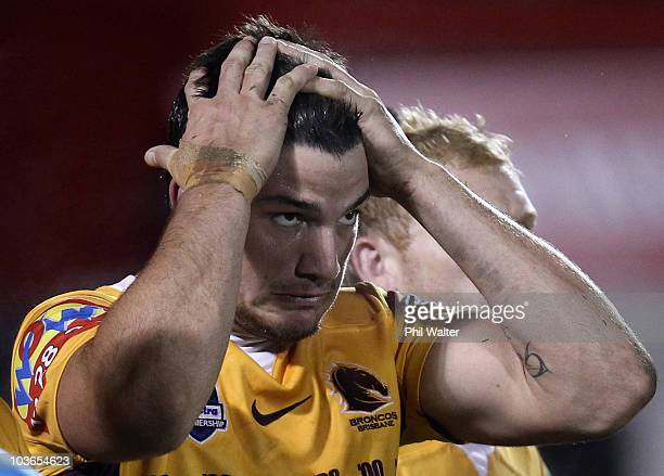 Matt Gillett of the Broncos shows his despair during the round 25 NRL match between the Warriors and the Brisbane Broncos at Mt Smart Stadium on...