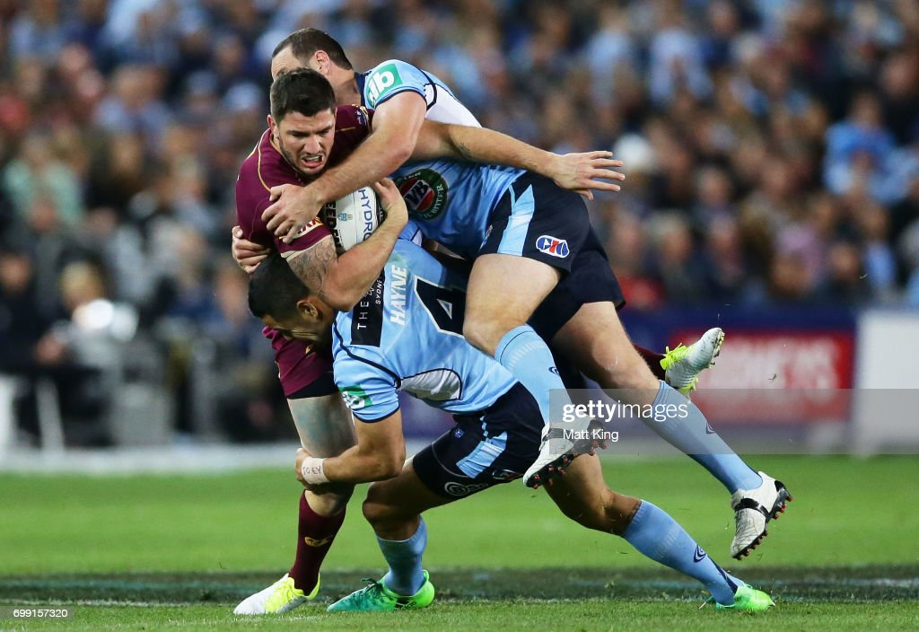 Matt Gillett of the Maroons is tackled during game two of the State Of Origin series between the New South Wales Blues and the Queensland Maroons at ANZ Stadium on June 21, 2017 in Sydney, Australia.