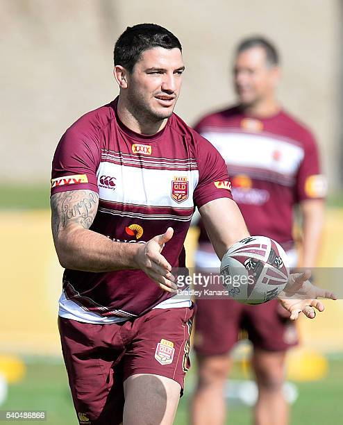 Matt Gillett passes the ball during a Queensland Maroons State of Origin training session at Sanctuary Cove on June 16 2016 in Gold Coast Australia