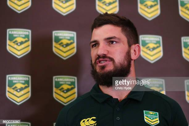 Matt Gillett speaks to media during an Australian Kangaroos Rugby League World Cup media opportunity at Suncorp Stadium on October 11 2017 in...