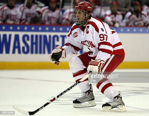 Matt Gilroy of the Boston Terriers plays defense against the Miami Red Hawks during the NCAA Men's Frozen Four Championship game on April 11, 2009 at...