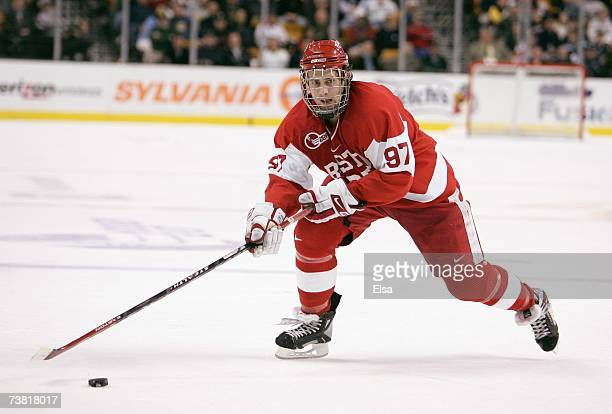 Matt Gilroy of the Boston University Terriers handles the puck against the Boston College Eagles during the Hockey East Tournament on March 16, 2007...