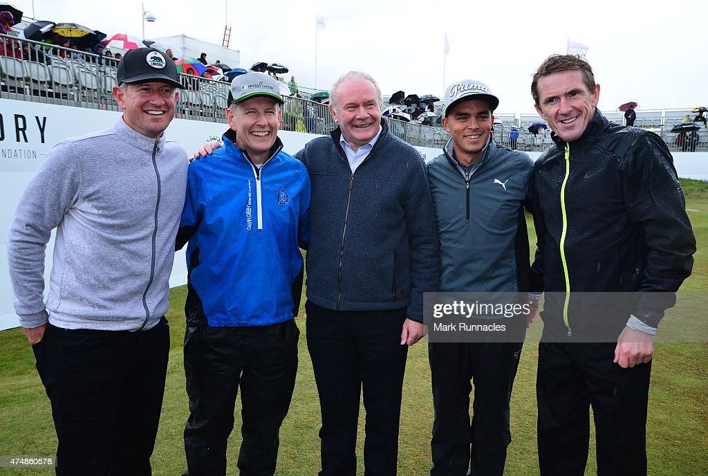 Matt Ginella, TV Personally Patrick Kielty, Deputy First Minister Martin McGuinness, Ricky Fowler of USA and former Jockey AP McCoy pose on the 18th green after playing in the Pro-Am during the Irish Open Previews at Royal County Down Golf Club on May 27, 2015 in Newcastle, United Kingdom.