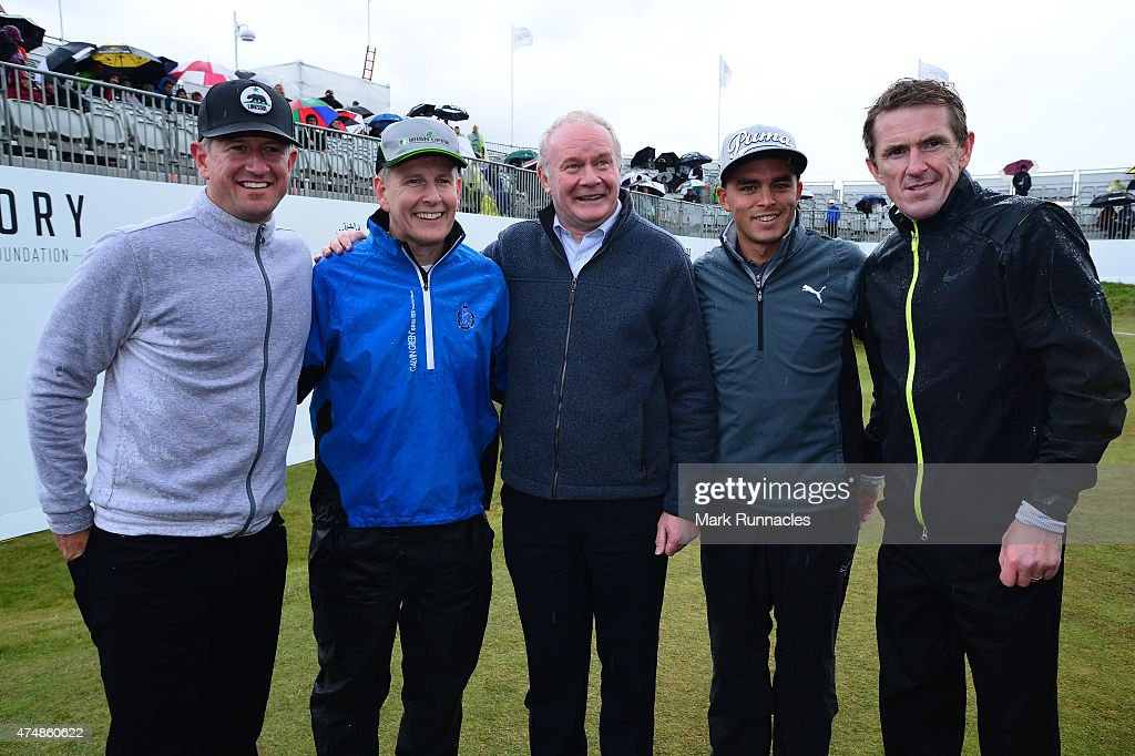 Matt Ginella, TV Personally Patrick Kielty, Deputy First Minister Martin McGuinness, Ricky Fowler of the USA and former Jockey AP McCoy pose on the 18th green after playing in the Pro-Am during the Irish Open Previews at Royal County Down Golf Club on May 27, 2015 in Newcastle, United Kingdom.