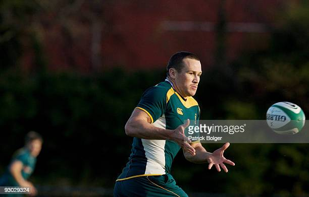Matt Giteau in action during the Australia team training session at Old Belvedere Rugby Club on November 13 2009 in Dublin Ireland